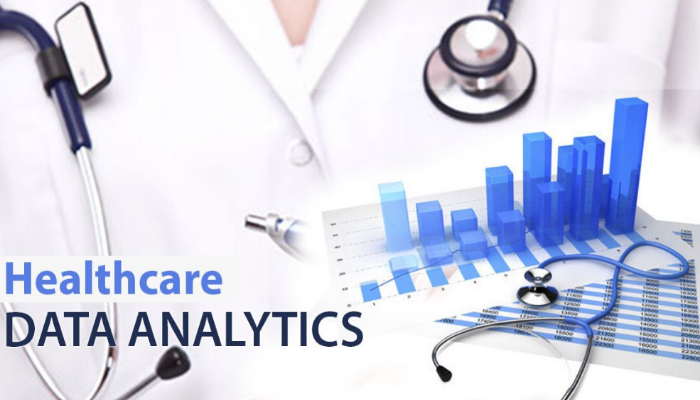 An Image which resembles a doctor and a bargraph that depicts Healthcare Data Analytics.